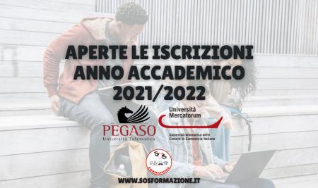 Pegaso e Mercatorum: aperte le immatricolazioni per l'anno accademico 2021/2022